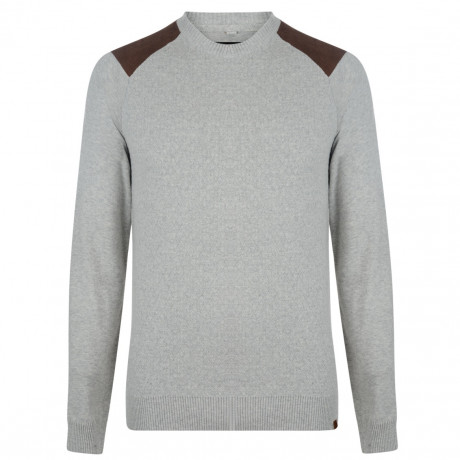 Blend Crew Neck Cotton Knit Pullover Sand Mix Image
