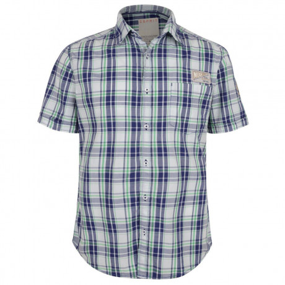 Esprit Slim Fit Short Sleeve Check Shirt Deep Purple