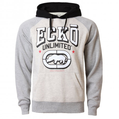 Ecko Unlimited Hoodie Logo Hooded Sweatshirt Grey Beige Image