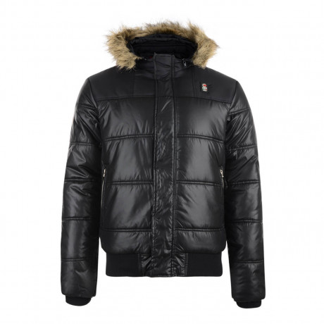 Crosshatch Men's Hantise Faux Fur Shiny Parka Jacket Black