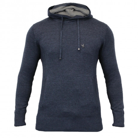 Ringspun Junip Hooded Neck Knit Jumper Navy Marl