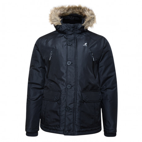 Kangol Ontario Men's Faux Fur Parka Jacket Black