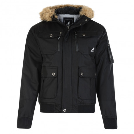 Kangol Men's Bemford Short Faux Fur Parka Jacket Black