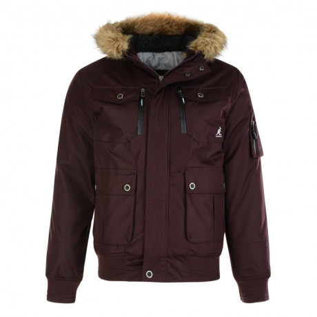 Kangol Men's Bemford Short Faux Fur Parka Jacket Mahogany