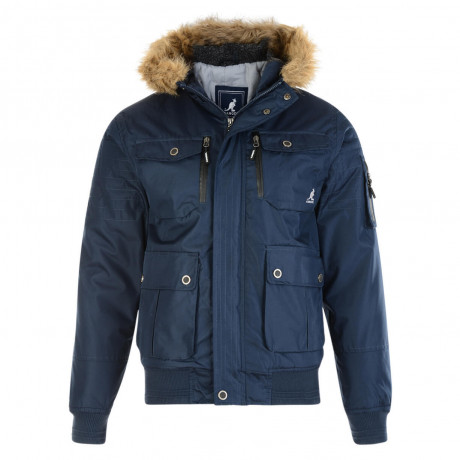 Kangol Men's Bemford Short Faux Fur Parka Jacket Navy Blue