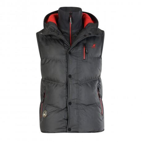 Kangol Men's Barett Padded Puffer Body Warmer Gilet Storm Grey