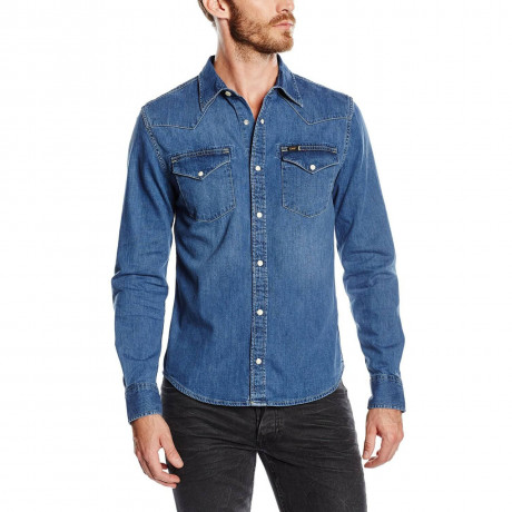 Lee Western Denim Shirt Blue Stance Image