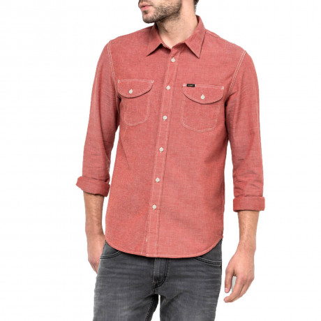 Lee Long Sleeve Cotton Worker Shirt Lava Red Image