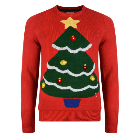 Light Up Novelty Christmas Jumper Crew Neck LED Tree Red