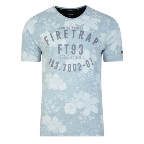 Firetrap Vee Neck Lothrop Floral T-shirt Dusty Blue
