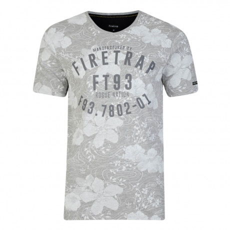 Firetrap Vee Neck Lothrop Floral T-shirt Grey