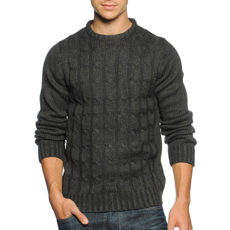 Soul Star Crew Neck Knitted Twister Jumper Charcoal Melange Image