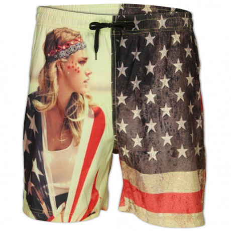 Soul Star Beach Swim Shorts American Flag Hot Girl Image