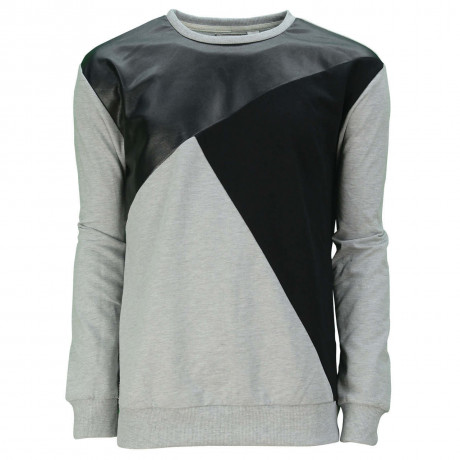 Soul Star Dell Crew Neck Contrast Design Sweatshirt Grey Marl