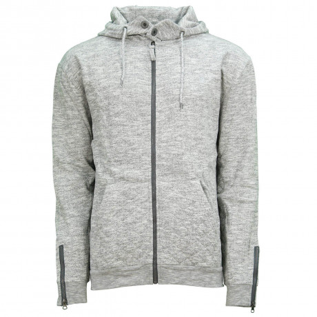 Soul Star Elwood Zip Up Hooded Sweatshirt Mid Grey