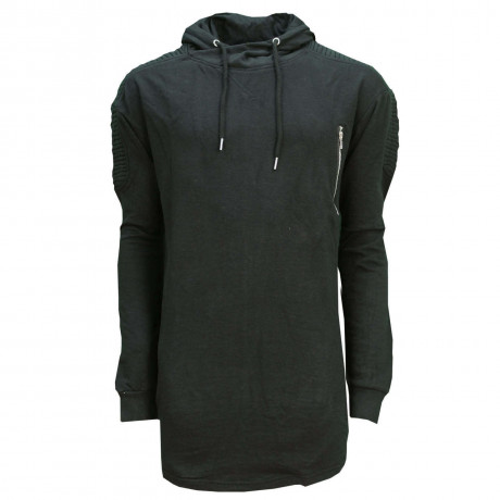 Soul Star Madison Long Length Hooded Sweatshirt Black