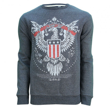Soul Star Crew Neck Eagle Print Sweatshirt Navy Melange