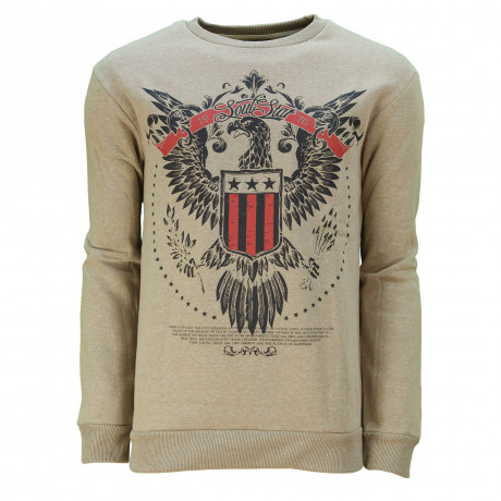 Soul Star Crew Neck Eagle Print Sweatshirt Taupe