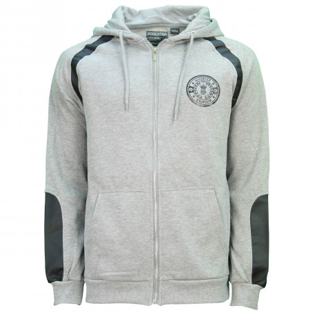 Soul Star Saddle Zip Up Hooded Sweatshirt Grey Marl