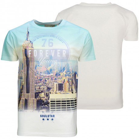 Soul Star Crew Neck Print T-shirt New York Statue of Liberty White