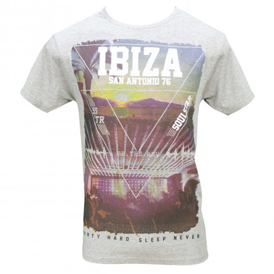 Soul Star Crew Neck Print T-shirt Ibiza Oatmeal Melange