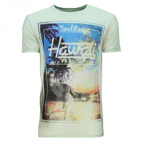 Soul Star Crew Neck Print T-shirt Hawaii Beach Surf Mint