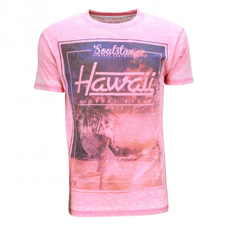 Soul Star Crew Neck Print T-shirt Hawaii Beach Surf Pink