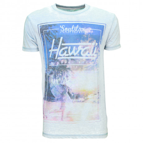 Soul Star Crew Neck Print T-shirt Hawaii Beach Surf Sky