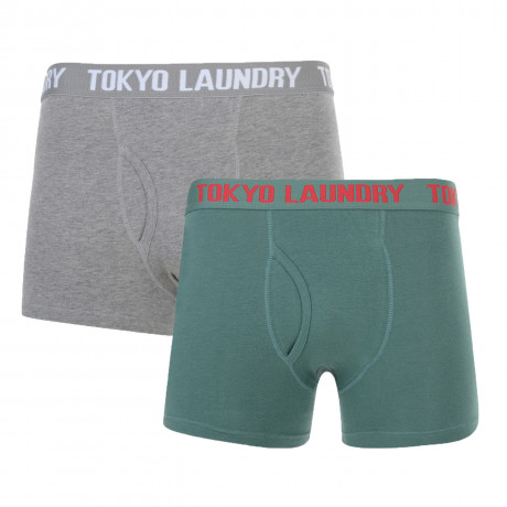 Tokyo Laundry 2 Pack Boxer Shorts Underwear Green & Grey Image