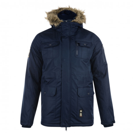 Crosshatch Men's Parked Long Faux Fur Parka Jacket Iris Blue