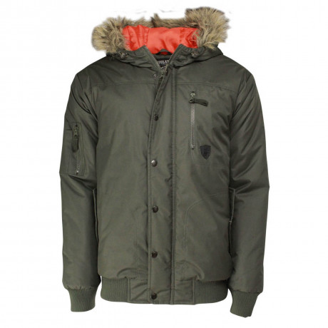 Soul Star Men's Pardew Faux Fur Short Hooded Parka Jacket Khaki