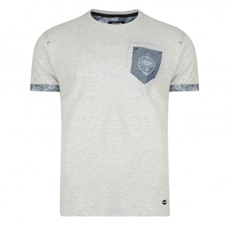 Firetrap Crew Neck Pitchard Plain T-shirt Grey Marl