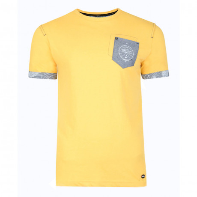 Firetrap Crew Neck Pitchard Plain T-shirt Yellow Marl