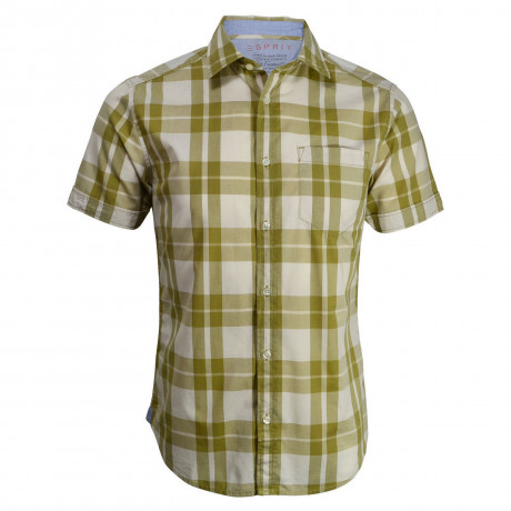 Esprit Regular Fit Short Sleeve Check Shirt Beige