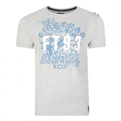 Firetrap Crew Neck Rusper Print T-shirt Grey Marl
