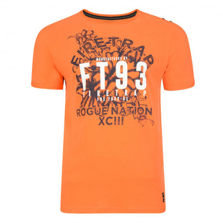 Firetrap Crew Neck Rusper Print T-shirt Red Orange