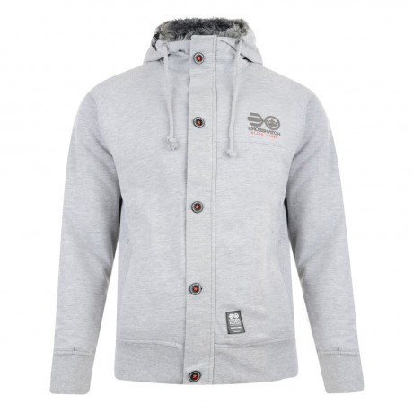 Crosshatch Sanctions Zip Up Fur Hoodie Grey Marl