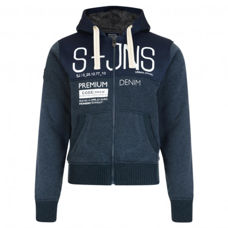 Smith & Jones Men's Soldeu Faux Fur Hooded Top Navy Marl Blue | Jean Scene