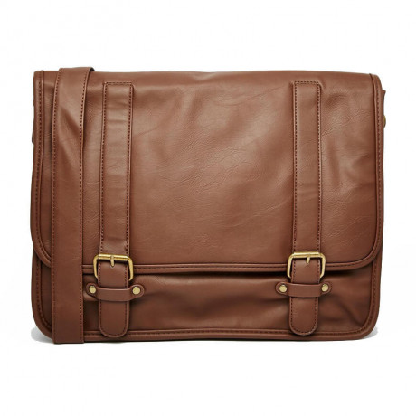 French Connection Messenger Bag Shoulder Strap Laptop Sleeve Tan Brown