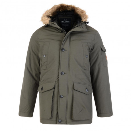 Threadbare Derwent Faux Fur Parka Jacket Khaki Green