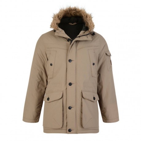 Threadbare Derwent Faux Fur Parka Jacket Stone