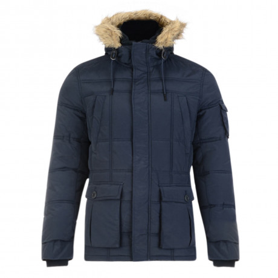 Threadbare Humberside Faux Fur Parka Jacket Navy Blue