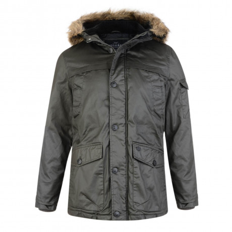 Threadbare Trent Waxed Faux Fur Parka Jacket Khaki Green