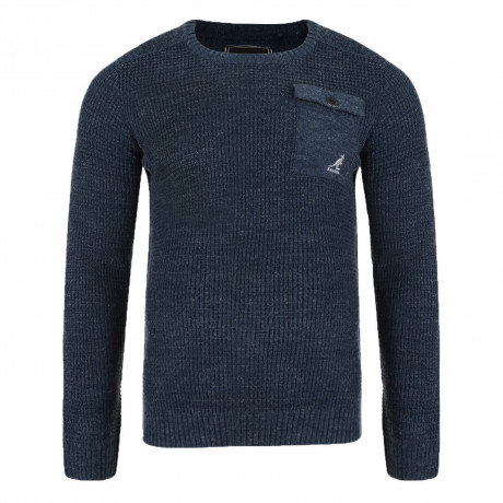 Kangol Tenby Crew Neck Wool Blend Jumper Airforce Blue