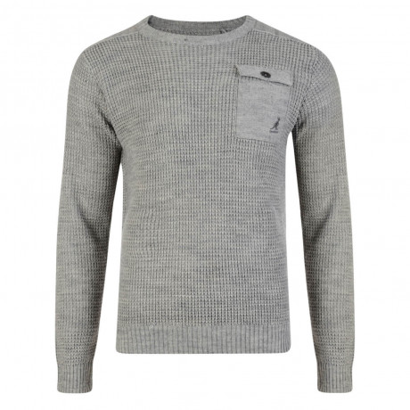 Kangol Tenby Crew Neck Wool Blend Jumper Grey Marl