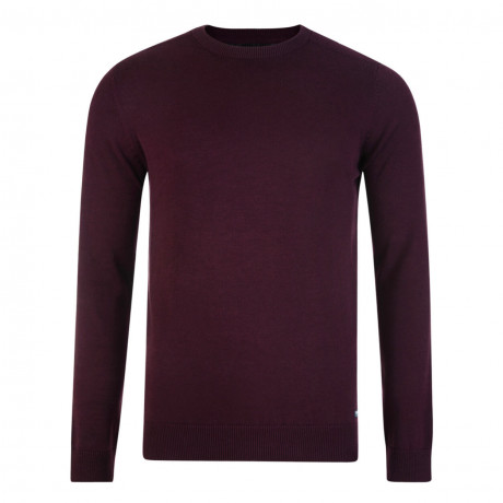 Threadbare Beijing Crew Neck Cotton Jumper Burgundy