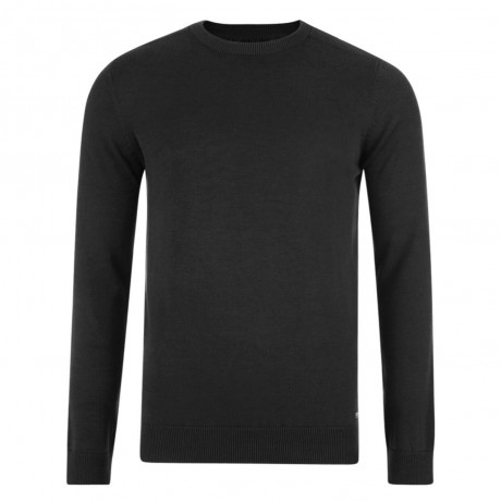 Threadbare Beijing Crew Neck Cotton Jumper Jet Black