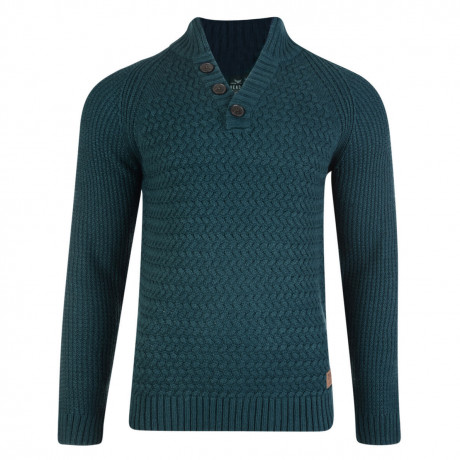 Threadbare New Zealand Button V Neck Wool Blend Jumper Teal
