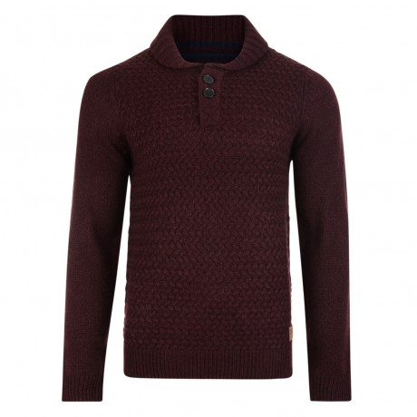 Threadbare Oslo Crew Collar Neck Wool Blend Jumper Burgundy