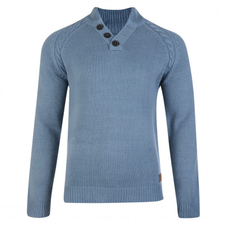 Threadbare Bedgebury Funnel Neck Cotton Jumper La Blue